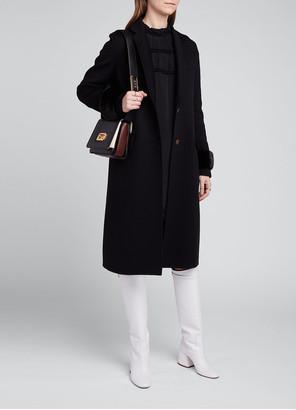 Fendi Wool-Silk Coat with Mink Fur Cuffs