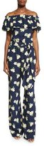 Michael Kors Off-The-Shoulder Floral-Print Jumpsuit, Indigo/White