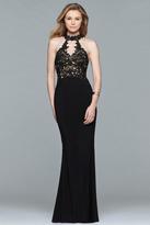Faviana 7750 High Halter Cutout Sheath Gown