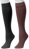 Muk Luks Women's Fleece-Lined Knee-High Socks 2-Pair Pack
