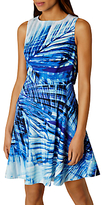 Karen Millen Palm Print Dress, Blue/Multi