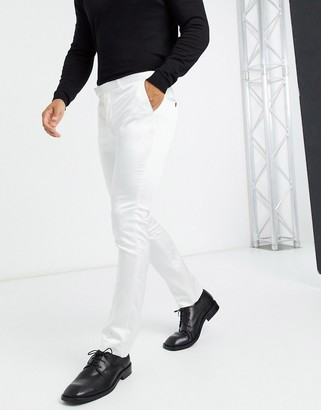 Twisted Tailor satin suit pants in winter white