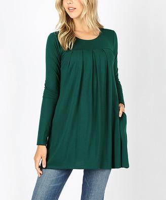 Hunter Zenana Women's Tunics  Green Pleat-Front Long-Sleeve Tunic - Women