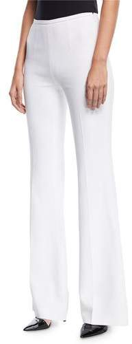 9b4769af45bc67 White Crepe Flared Trousers - ShopStyle