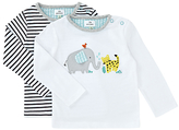 John Lewis Animals and Stripe Top, Pack of 2, White/Black