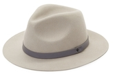 Saks Fifth Avenue Small Fedora with Genuine Leather Band