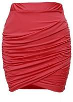 Zeagoo Women Sexy Wrap Runched Stretch Draped Short Mini Pleated Skirts