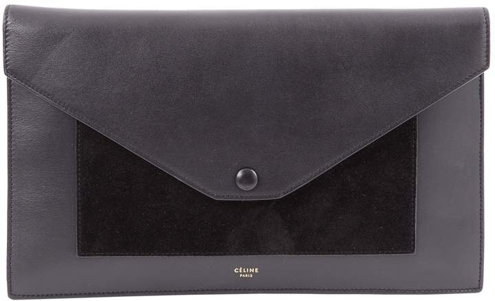 Celine Pocket Black Leather Clutch Bag