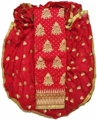 VintFlea Indian Women Cotton Unstiched Salwar Suit Dress Material with Zari Embriodery Free Size Denim