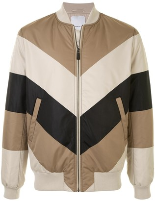 Ports V Colour-Blocked Zipped Bomber Jacket