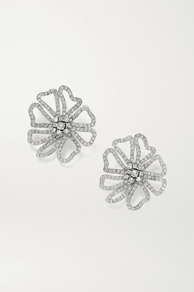 Oscar de la Renta Silver-tone Crystal Earrings - one size
