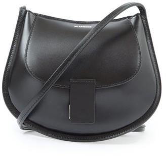 Jil Sander Logo-embossed Small Leather Shoulder Bag - Black