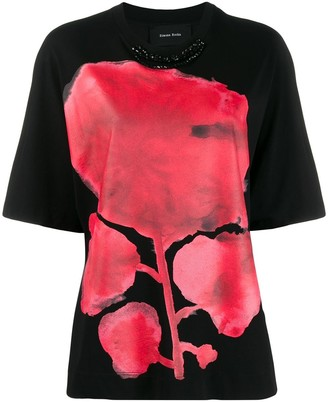 Simone Rocha flower print necklace effect T-shirt