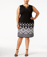 JM Collection Plus Size Border-Print Sheath Dress, Created for Macy's