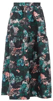 Beulah - Gia Forest Floral-jacquard Drop-waist Skirt - Womens - Green Multi
