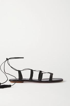 Aquazzura Stromboli Braided Leather Sandals - Black
