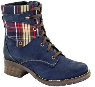 Dromedaris Leather Short Padded Lace-Up Boots -Kara Tartan