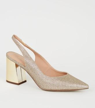 New Look Glitter Flared Block Heel Courts