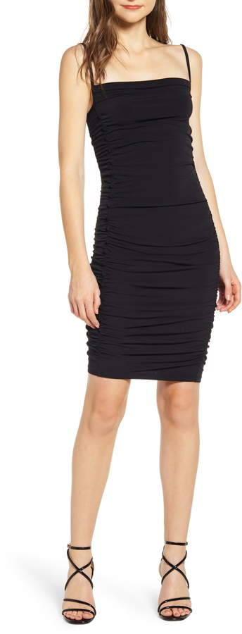 Leith Ruched Side Button Body-Con Dress