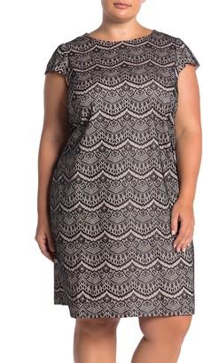 Brinker & Eliza Short Sleeve Lace Shift Dress (Plus Size)