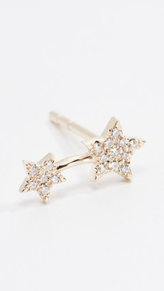 Ef Collection 14k Single Diamond Double Star Stud Earring
