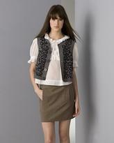Women's  Cotton Voile Ruffled Blouse,  Wool/Cashmere Leopard-Print Vest, and Cotton Plaid Skirt