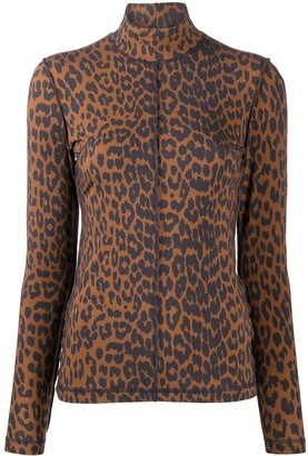 Ganni Leopard-Print Rollneck Jumper