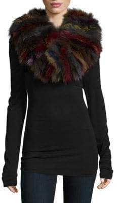 Adrienne Landau Knitted Multicolor Fox Fur Scarf
