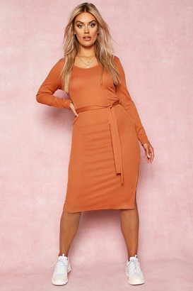 boohoo Recycled Tie Waist Rib Midi Dress