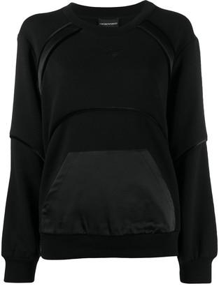 Emporio Armani Panelled Rib-Trimmed Sweatshirt