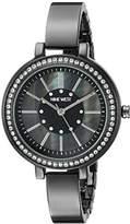 Nine West Women's NW/1747GMGN Swarovski Crystal Accented Gunmetal Bangle Watch