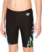 Arena Black & Blue Geometric-Panel Swim Shorts - Boys