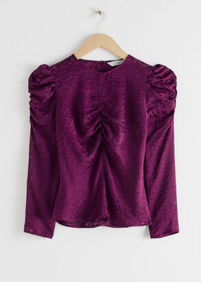 And other stories Fitted Leopard Jacquard Blouse