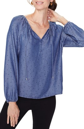 NYDJ Dotted Long Sleeve Chambray Blouse
