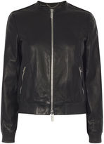 Karen Millen Leather Bomber Jacket - Black