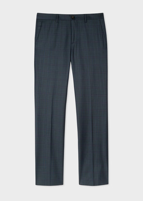 Men's Slim-Fit Charcoal Check Wool Trousers