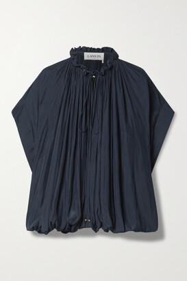 LANVIN - Tie-detailed Gathered Crepe De Chine Blouse - Blue