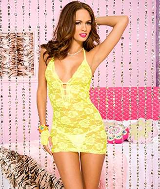 Music Legs Women's Lace Halter Minidress Neon Yellow Party Dress, One Size (Size:Small/Large 34-40)