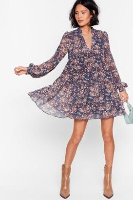 Nasty Gal Womens Grow the Score Floral Mini Dress - Blue - 12