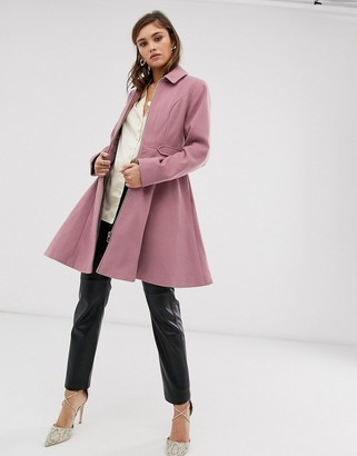 Asos Design DESIGN swing coat with zip front-Pink