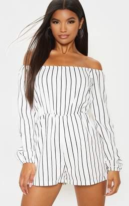 PrettyLittleThing Kennie White Stripe Playsuit