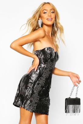 boohoo Premium Sequin Embellished Bandeau Bodycon Dress
