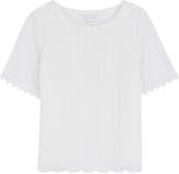 Diane von Furstenberg Short Sleeve Top with Lace Eyelet Overlay