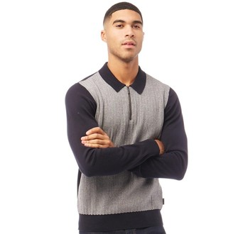 Ben Sherman Texture Front 1/4 Zip Knit Long Sleeve Polo Dark Navy