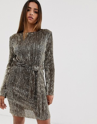 Club L London sequin plisse belted mini dress in matt gold