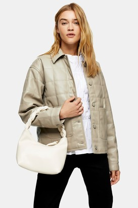 Topshop Taupe Boxy Quilted PU Jacket