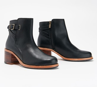 Clarks Leather Ankle Boots w/ Buckle Detail - Clarkdale Jax
