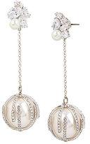 Betsey Johnson Blue by Cubic Zirconia & Faux-Pearl Linear Drop Earrings