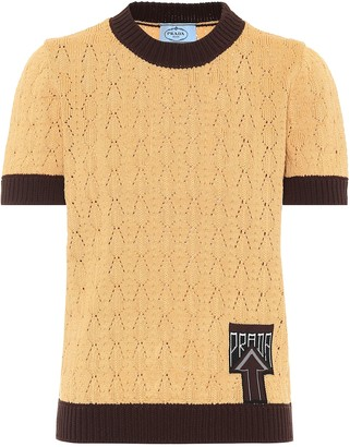 Prada Pointelle-knit cotton-blend sweater