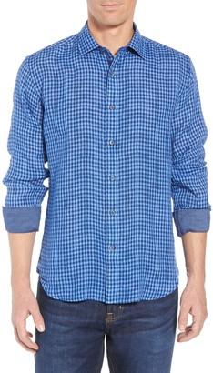 Bugatchi Check Print Trim Fit Shirt